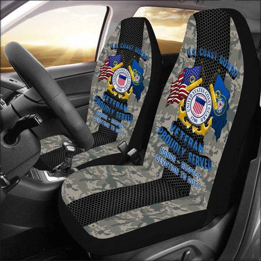 US Coast Guard Veteran Car Seat Covers (Set of 2)