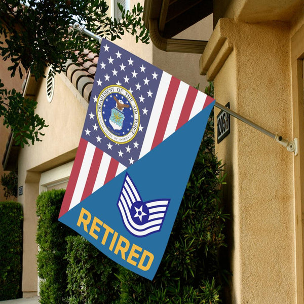 US Air Force E-6 Technical Sergeant TSgt Retired House Flag 28 inches x 40 inches Twin-Side Printing