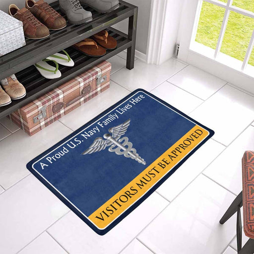 U.S Navy Hospital Corpsman Navy HM Family Doormat - Visitors must be approved (23,6 inches x 15,7 inches)