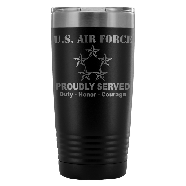 US Air Force O-10 General of the Air Force GAF O10 General Officer Proudly Served - 20 Oz Ounce Vacuum Tumbler