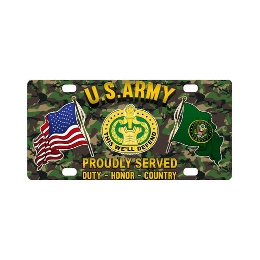 US Army Drill Sergeant Proudly Plate Frame Classic License Plate