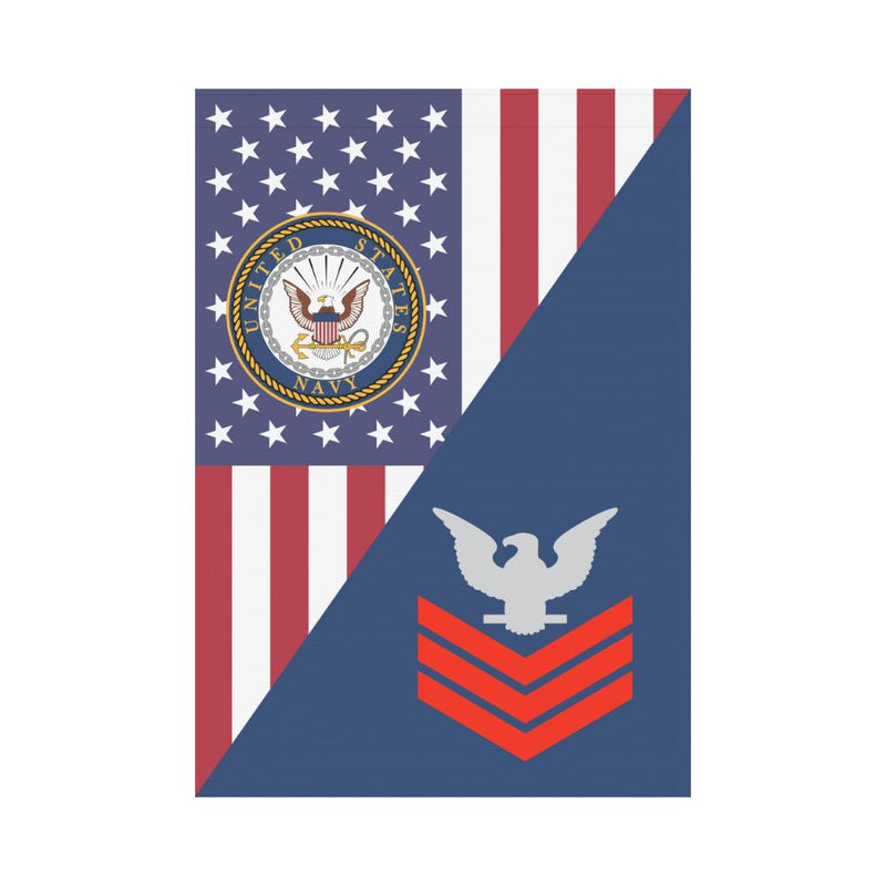 US Navy E-6 Petty Officer First Class E6 PO1 Red Stripe Collar Device House Flag 28 inches x 40 inches Twin-Side Printing