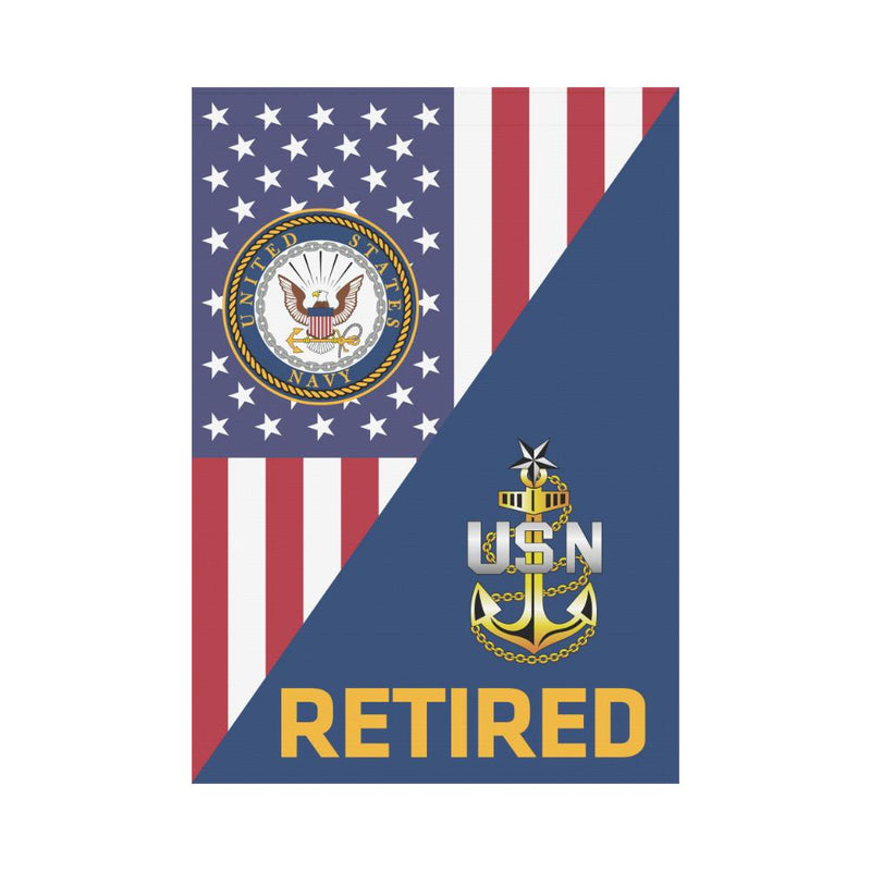 US Navy E-8 Senior Chief Petty Officer E8 SCPO Senior Noncommissioned Officer Collar Device Retired House Flag 28 inches x 40 inches Twin-Side Printing