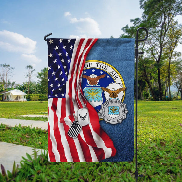 Half USA Flag With Military Ranks/Insignia D05 Garden Flag/Yard Flag 12 Inch x 18 Inch Twin-Side Printing