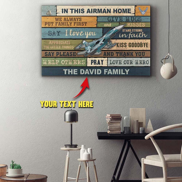Personalized Canvas - In This Airman Home - Customize Your Family Name