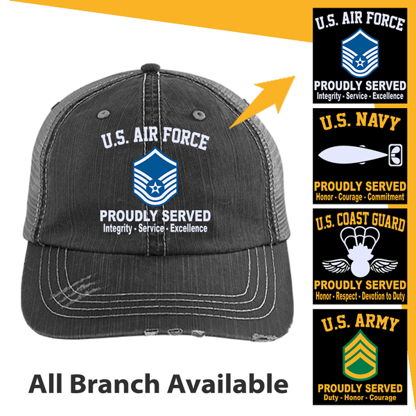 US Military Insignia Proudly Served Core Values Embroidered Trucker Cap