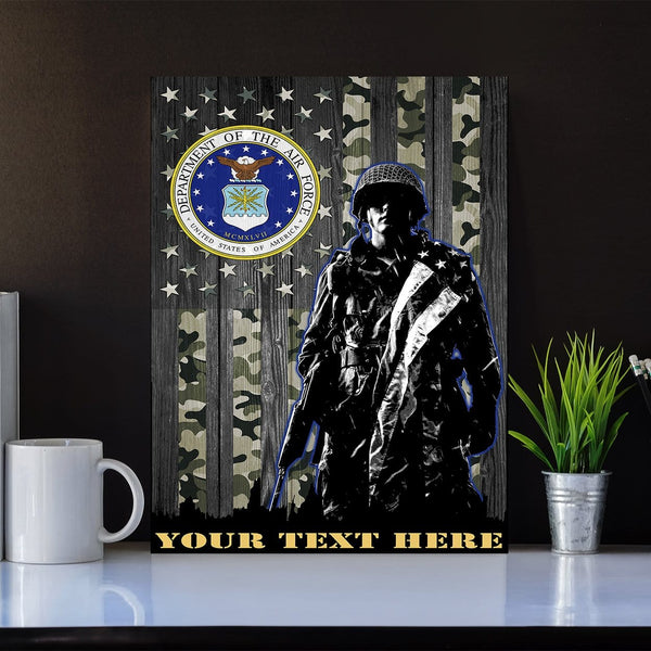 Personalized Canvas Soldier - U.S. Air Force Logo - Personalized Your Text
