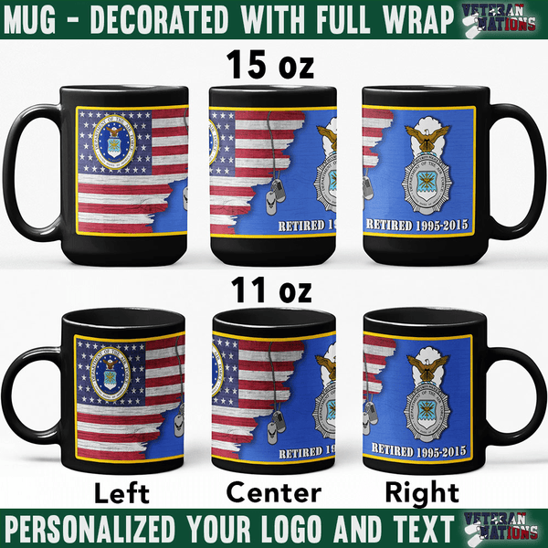 US Air Force Major Commands - Personalized 11oz - 15oz Black Mug