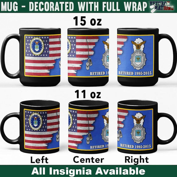 US Air Force Insignia With American Flag - Personalized 11oz - 15oz Black Mug