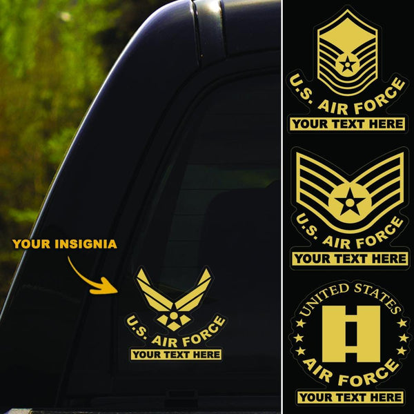 US Air Force Insignia - Personalized Clear Stickers