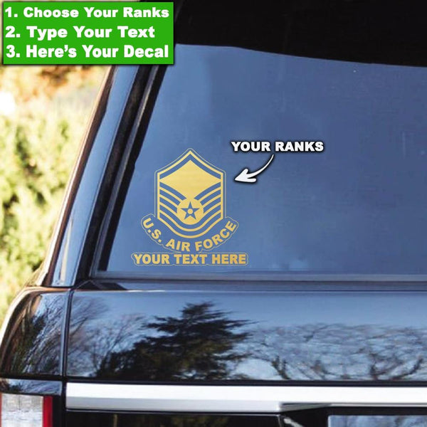 US Air Force Ranks - Personalized Clear Stickers