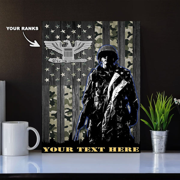 Personalized Canvas Soldier - U.S. Air Force Ranks - Personalized Ranks and Your Text
