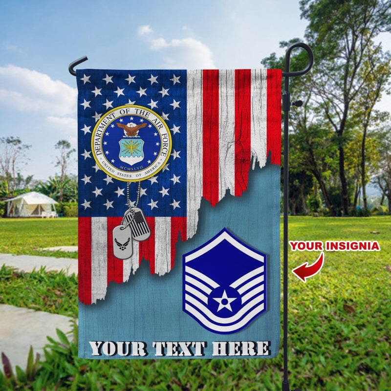 Personalized US Military Logo/Insignia and Text Garden Flag/Yard Flag 12 inches x 18 inches Twin-Side Printing