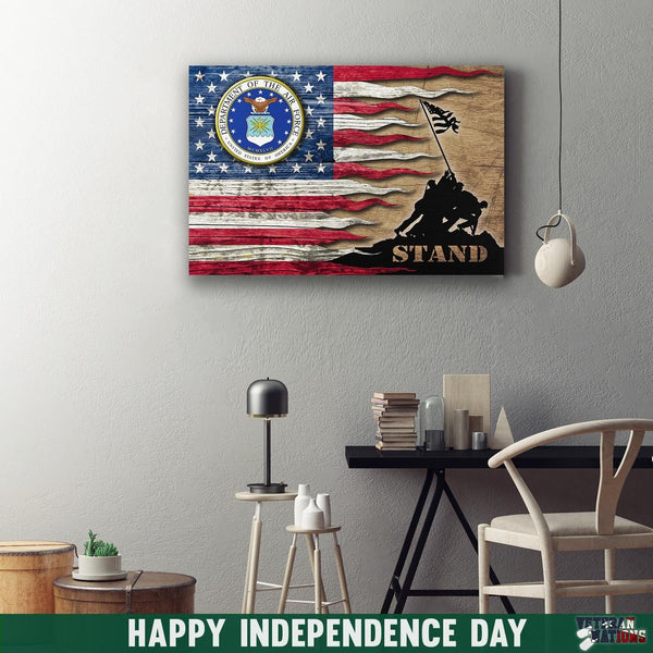 US Air Force Eagle Stand For The Flag 24x16 Inches  Landscape Canvas .75in Frame