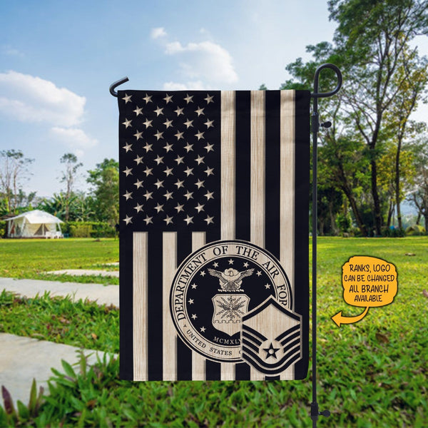 US Air Force Insignia With America Flag Garden Flag/Yard Flag Black/White Style 12 Inch x 18 Inch Twin-Side Printing