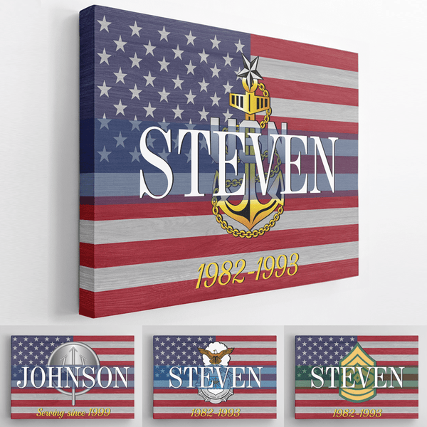 Personalized Canvas - USA Flag With Military Ranks/Insignia - Personalized Name & Ranks D06