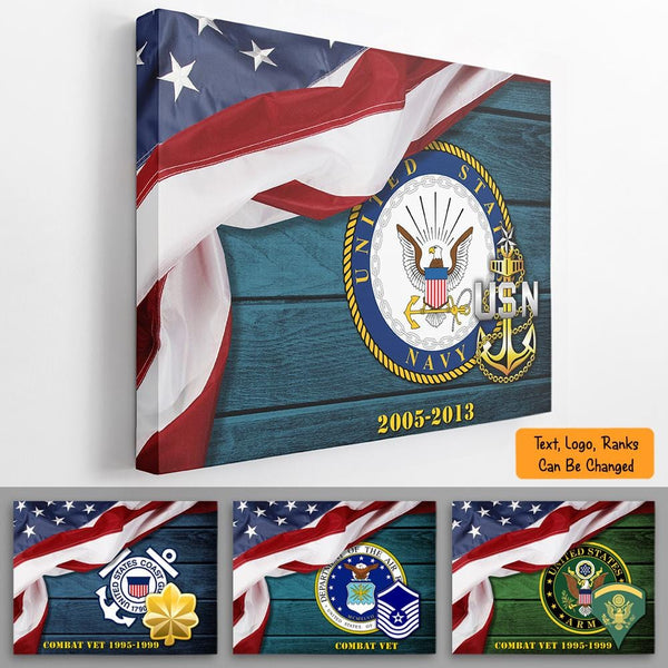 Personalized Canvas - USA Flag With Military Ranks/Insignia - Personalized Name & Ranks Wood Background