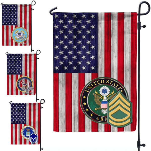 US Military Insignia With America Flag D03 Garden Flag/Yard Flag 12 Inch x 18 Inch Twin-Side Printing