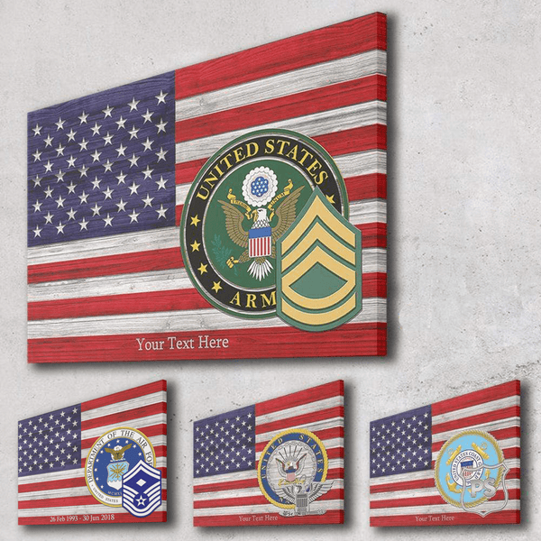 Personalized Canvas - American Flag With Military Ranks/Insignia - Personalized Text & Ranks/Insignia