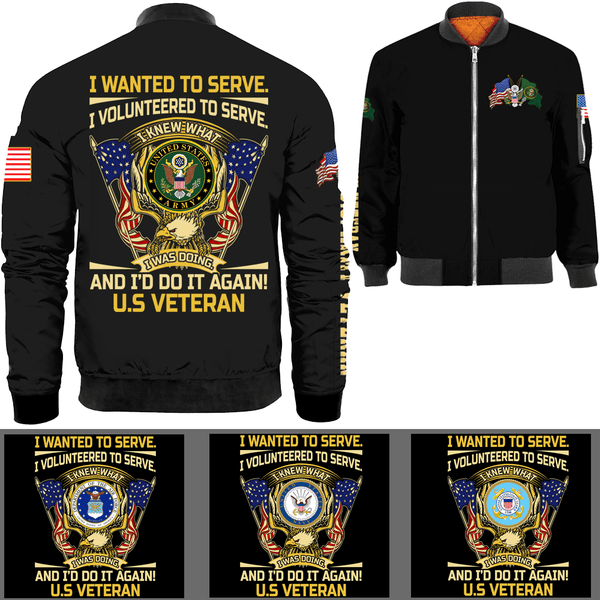 US Veteran Military Logo Bomber Jacket