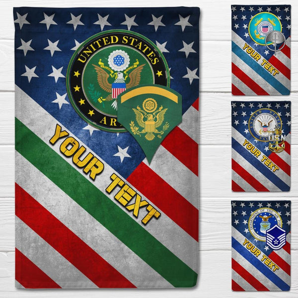Personalized US Military Logo/Insignia and Text D02 Garden Flag/Yard Flag 12 inches x 18 inches Twin-Side Printing