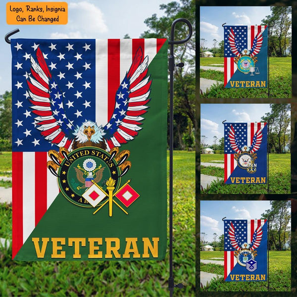 US Military Logo/Insignia D07 Veteran Garden Flag/Yard Flag 12 inches x 18 inches Twin-Side Printing