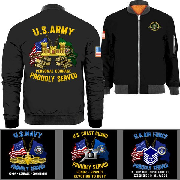 US Military Logo/Ranks Proudly Served Core Values Bomber Jacket