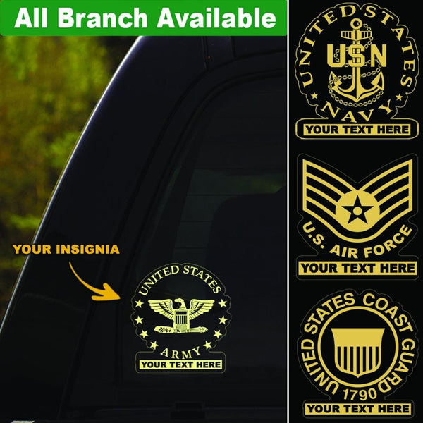 US Military Insignia Personalized Clear Stickers
