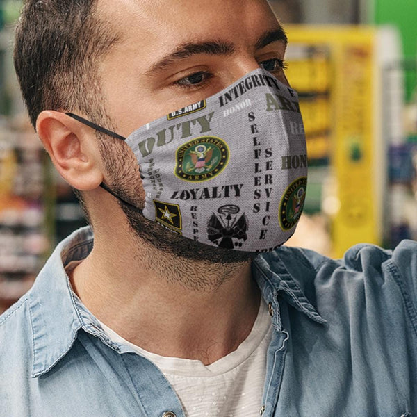 US Military Logo Core Values Face Mask