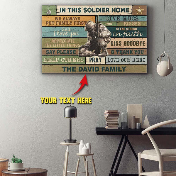 Personalized Canvas - In This Soldier Home - Customize Your Family Name