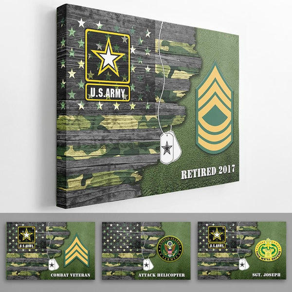 Personalized Army Canvas - USA Half Flag With Army Ranks/Insignia - Personalized Name & Ranks