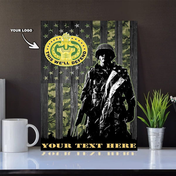 Personalized Canvas Soldier - U.S. Army Branch - Personalized Ranks and Your Text