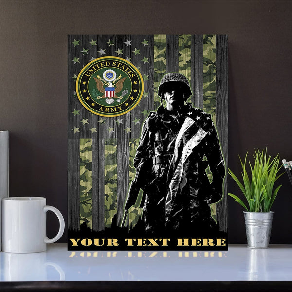 Personalized Canvas Soldier - U.S. Army Logo - Personalized Your Text