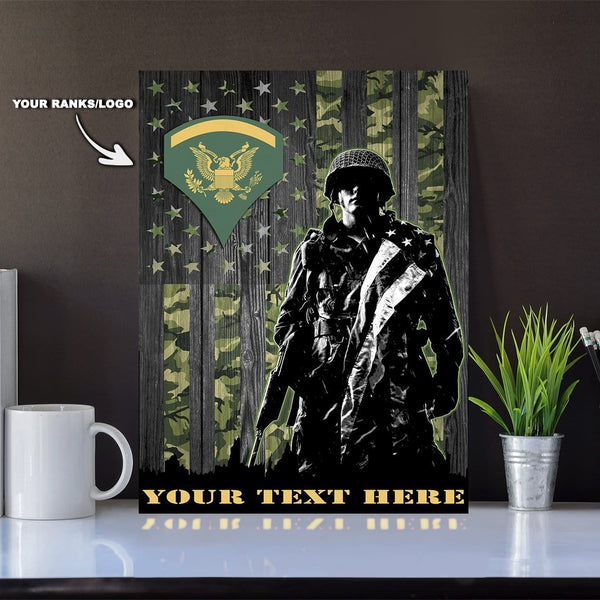 Personalized Canvas Soldier - U.S. Army Ranks - Personalized Ranks and Your Text