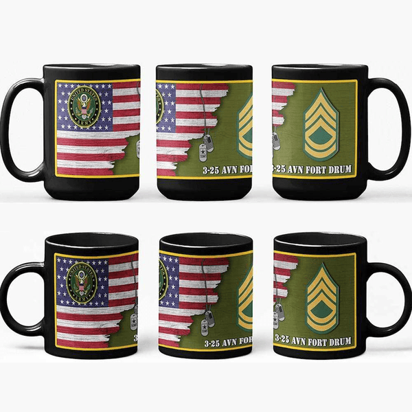 US Army Insignia With American Flag Personalized 11oz - 15oz Black Mug