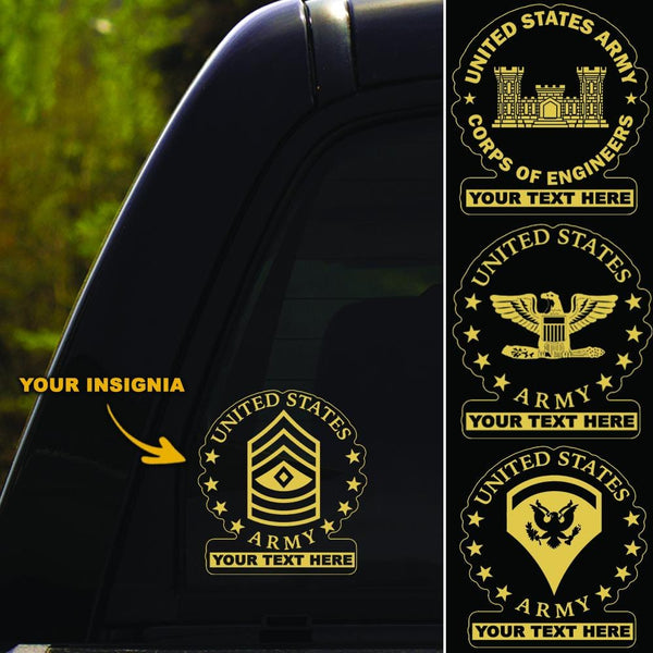 US Army Insignia - Personalized Clear Stickers