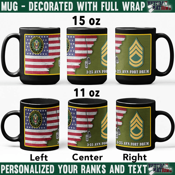 US Army Ranks - Personalized 11oz - 15oz Black Mug