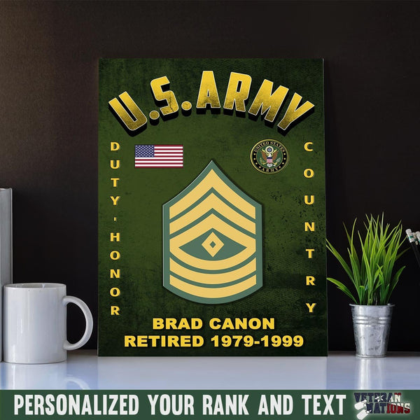 Personalized Canvas D03 - U.S. Army Ranks - Personalized Ranks and Your Text