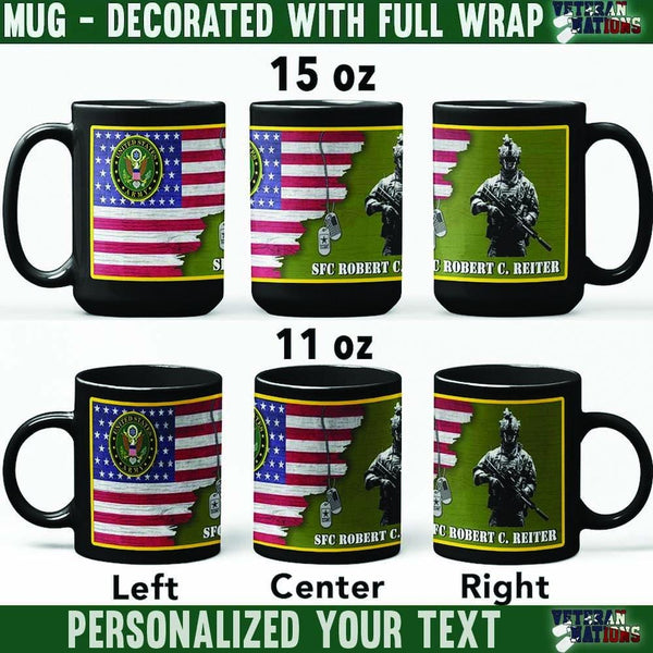 US Army Soldier - Personalized 11oz - 15oz Black Mug