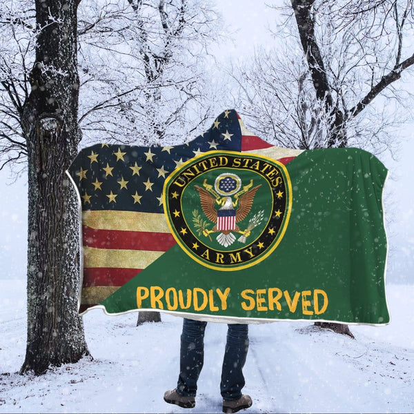 US Army Proudly Served Hooded Blanket