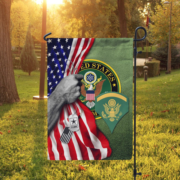 Half USA Flag With Military Ranks/Insignia D04 Garden Flag/Yard Flag 12 Inch x 18 Inch Twin-Side Printing