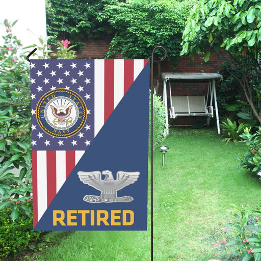 US Navy O-6 Captain O6 CAPT Senior Officer Retired Garden Flag/Yard Flag 12 inches x 18 inches Twin-Side Printing
