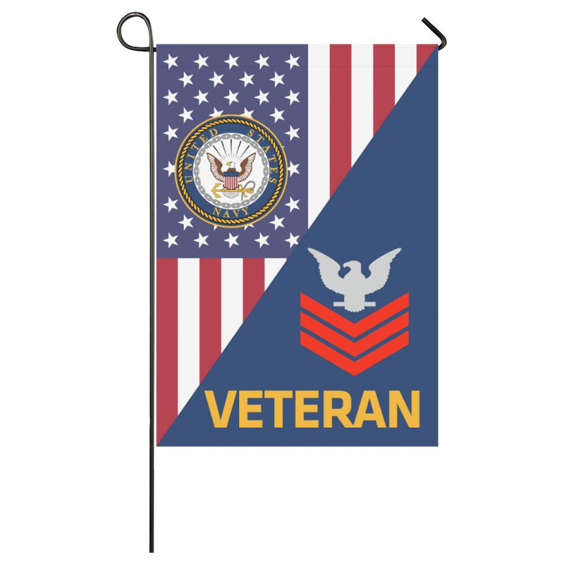 US Navy E-6 Petty Officer First Class E6 PO1 Red Stripe Collar Device Veteran House Flag 28 inches x 40 inches Twin-Side Printing