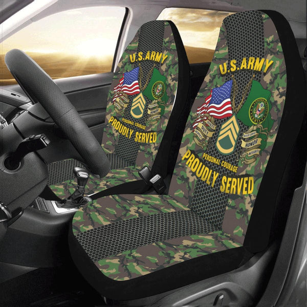 US Army E-6 Staff Sergeant E6 SSG Noncommissioned Officer Car Seat Covers (Set of 2)