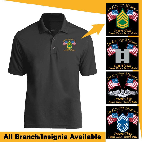 """ In Loving Memory "" Personalized US Military Logo/Insignia, Name and Date - Embroidered Polo Shirt"
