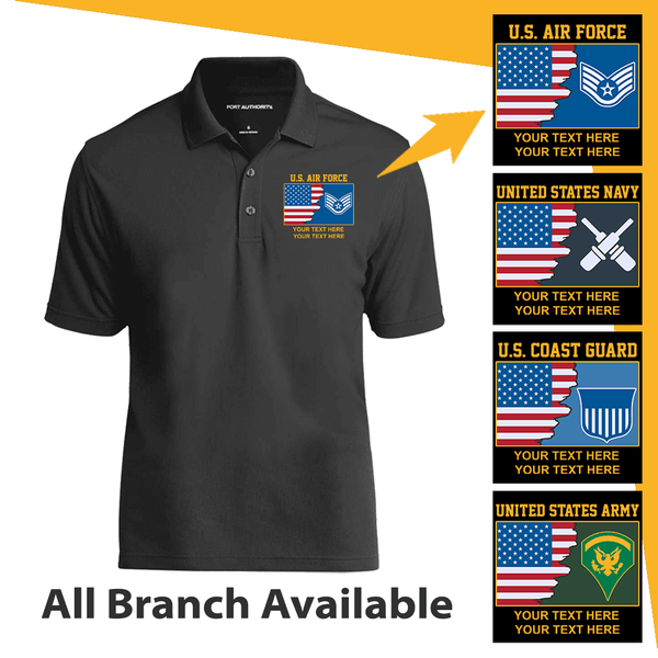 Personalized USA Flag with Military Logo/Insignia and Text - Embroidered  Polo Shirt
