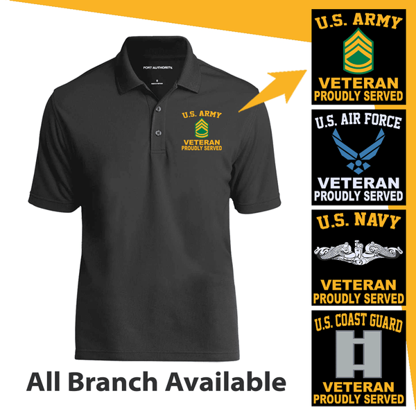 US Military Insignia Veteran Proudly Served Embroidered Port Authority Polo Shirt