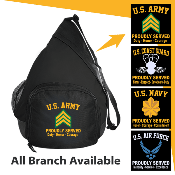 US Military Insignia Proudly Served Core Values Embroidered Active Sling Pack