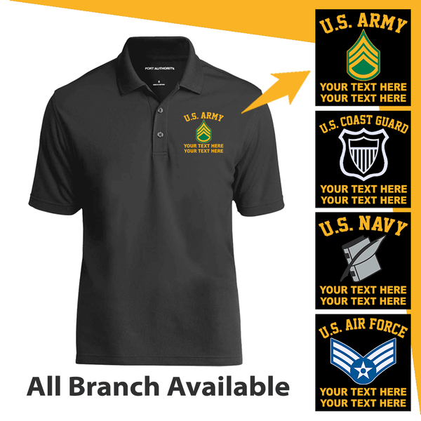 Personalized US Military Logo/Insignia and Text - Embroidered  Polo Shirt