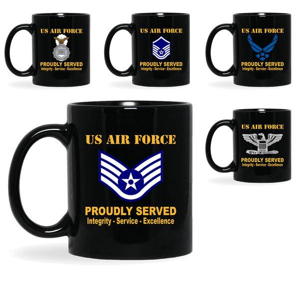 US Air Force Insignia Proudly Served Core Values 11oz - 15oz Black Mug